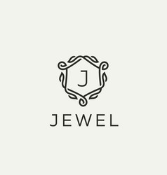 Premium linear shield monogram letter j logotype vector