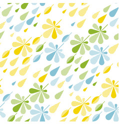 raindrop and fall leaves seamless pattern vector image