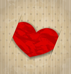Red crumpled paper heart for Valentine Day vector image