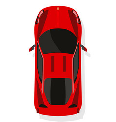 Red sport car top view in flat style isolated on vector