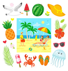 relaxing on beach summer business sea vector image