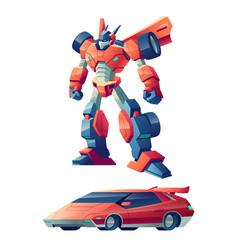 Robot transforming in sport car cartoon vector