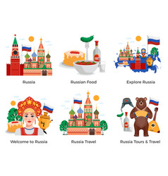 Russia travel compositions vector