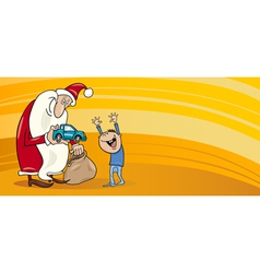 Santa with little boy greeting card vector image