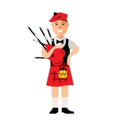 Scottish bagpiper Flat style colorful vector