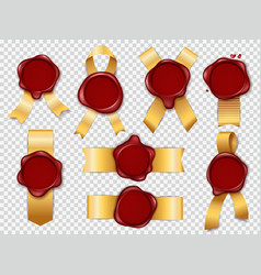 seal stamps red wax elements with golden vector image
