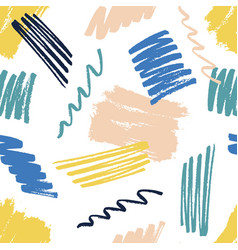 Seamless pattern with chaotic brush strokes vector