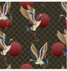 seamless pattern with circles and cranes vector image