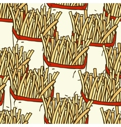 Seamless Pattern with French Fries in a Paper vector image