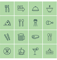 set of 16 eating icons includes stick batbecue vector image