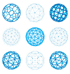 Set of dimensional wireframe low poly objects vector