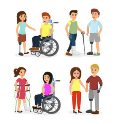 Set of disabled people and vector