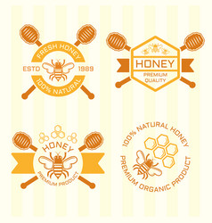 set of honey colored emblems vector image