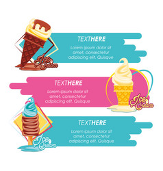 Shop delicious ice cream menu vector