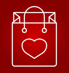 shopping bag with heart line icon valentines day vector image