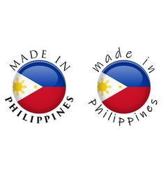 Simple made in philippines 3d button sign text vector