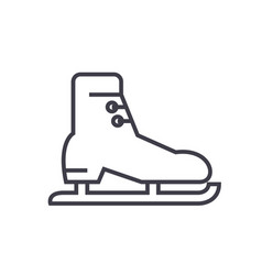skates racing flat line concept vector image