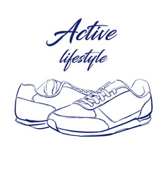 Sketch running sneakers vector