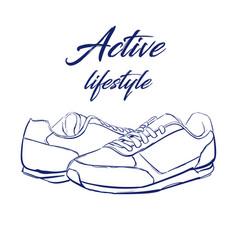sketch running sneakers vector image