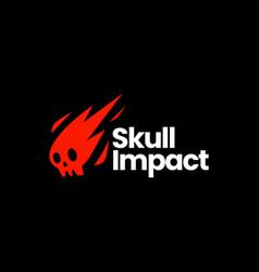 Skull impact meteor fire flame death logo icon vector