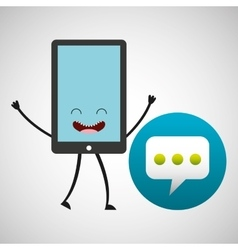 Smartphone cartoon with bubble speech vector