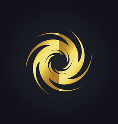 spin abstract swirl gear gold logo vector image