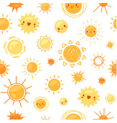 sun seamless pattern cartoon vector image