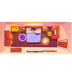 Top view bedroom with sleeping woman vector