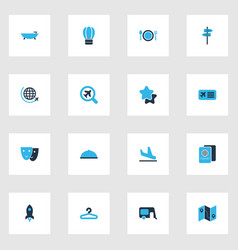 travel icons colored set with hanger house on vector image