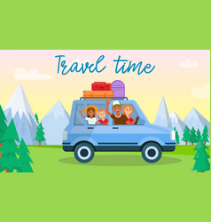 Travel time horizontal banner happy family kids vector