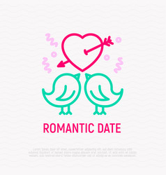 two birds in love thin line icon vector image