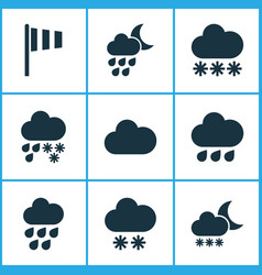 Weather icons set with winter cloud snowy and vector