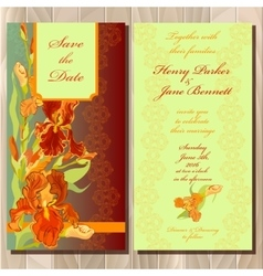 Wedding invitation card with red iris flower vector image