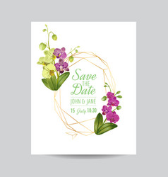 Wedding invitation layout template orchid flowers vector