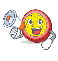 With megaphone passion fruit character cartoon vector