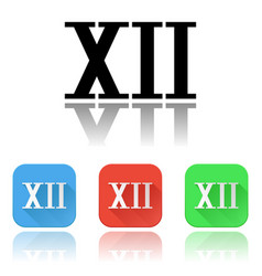 Xii roman numeral icons colored set vector
