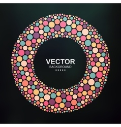 Abstract colorful dotted circle on dark background vector image vector image