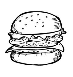 burger doodle vector image