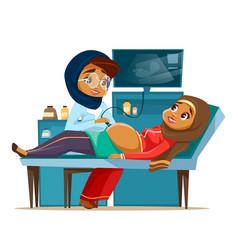 cartoon arab ultrasound pregnancy screen vector image