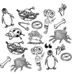 cartoon characters seamless pattern vector image
