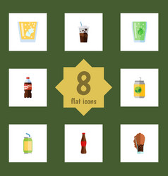 Flat icon beverage set of carbonated soda bottle vector