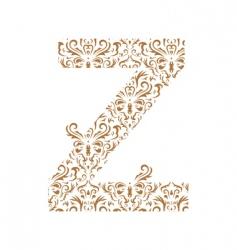 floral letter z ornament font vector image vector image