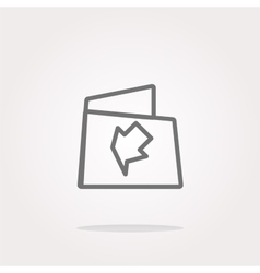 Folder icon web button with map isolated on vector image vector image