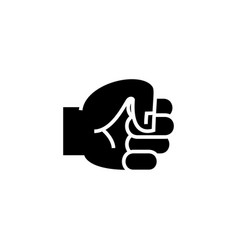 hand fist icon black sign on vector image