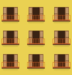 Open Doors With Balcony Vintage Style vector image vector image