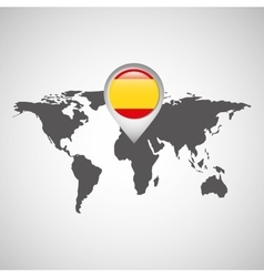 spain flag pin map design vector image vector image