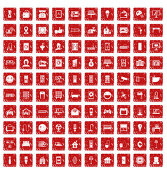 100 smart house icons set grunge red vector image vector image