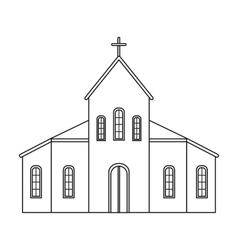 Church icon in outline style isolated on white vector image vector image