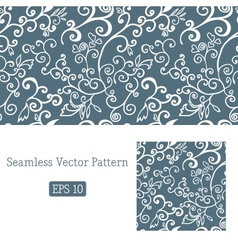Excellent seamless floral pattern white and blue vector image vector image