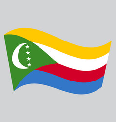 flag of comoros waving on gray background vector image vector image